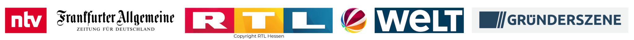 Logos der Medien, die über Connfair berichtet haben: unter anderem ntv, FAZ, RTL, die Welt, Sat1 und Gründerszene.