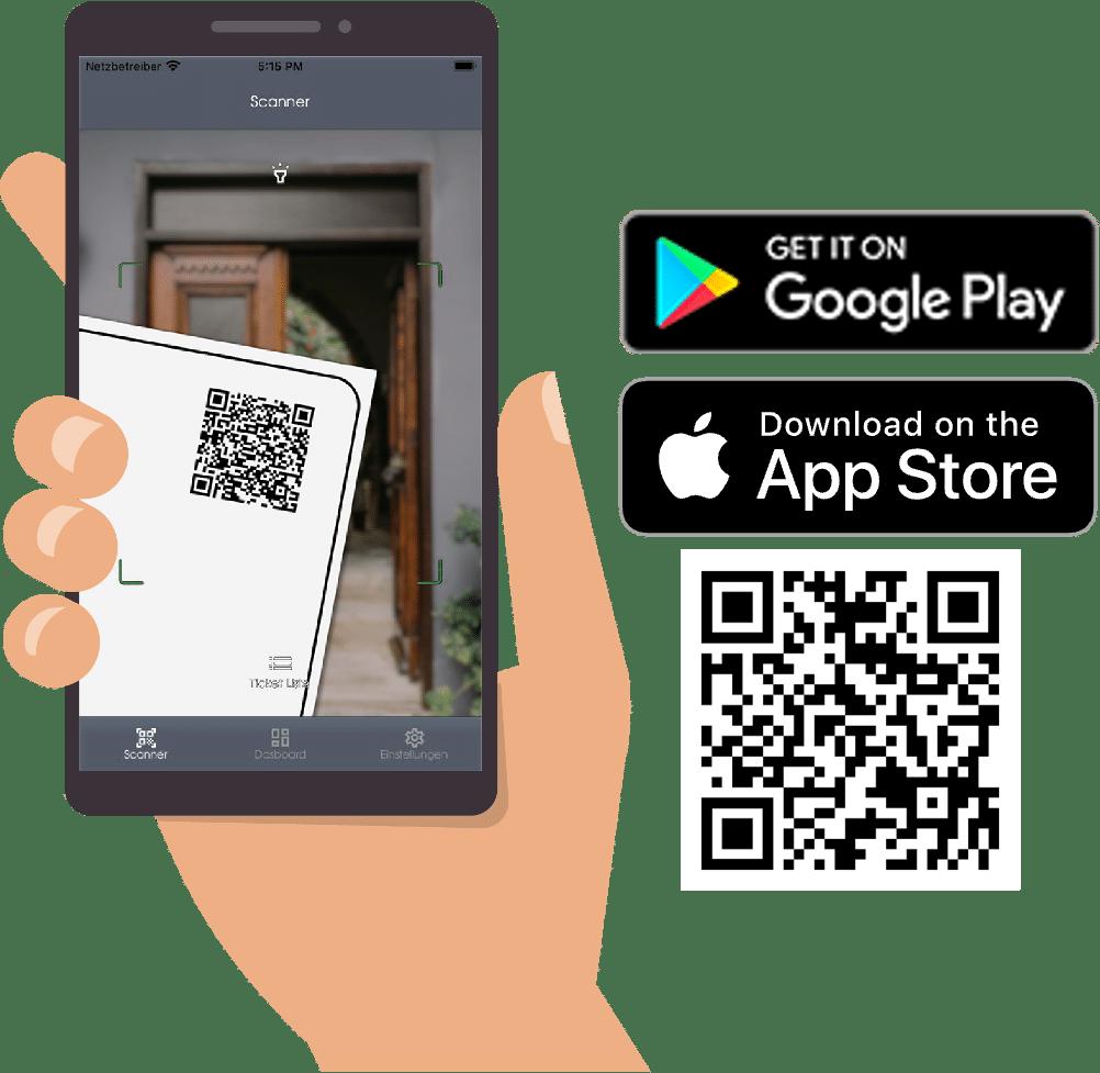 Eine Hand hält ein Smartphone mit der Admin App, mit der gerade der QR-Code einer Eintrittskarte gescannt wird. Icons zeigen, wo die App verfügbar ist: im Google App Store und im App Store von Apple.