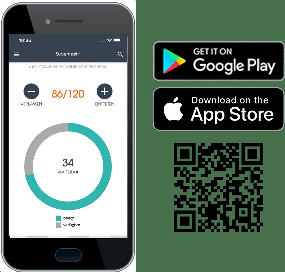 Ein Smartphone zeigt die Zähl App von Connfair, mit der die Auslastung einer Veranstaltung gesteuert und die Corona-Regeln eingehalten werden können. Icons zeigen, wo die App verfügbar ist: Im Google Play Store und im App Store von Apple.
