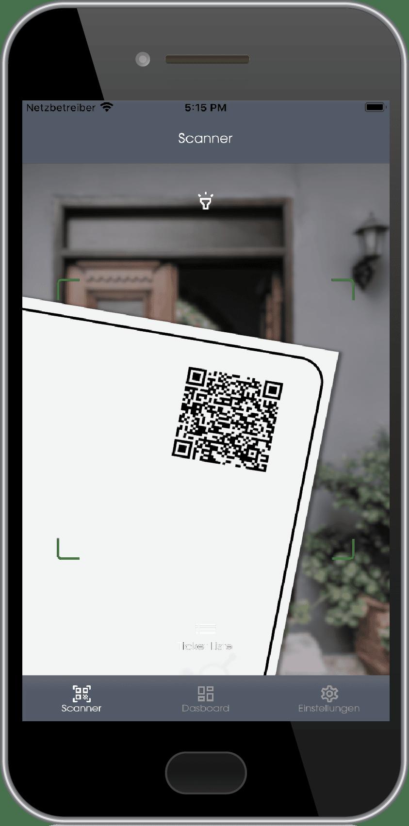Ein Smartphone-Bildschirm zeigt die Connfair Admin App, mit der der QR-Code eines Tickets gescannt wird.