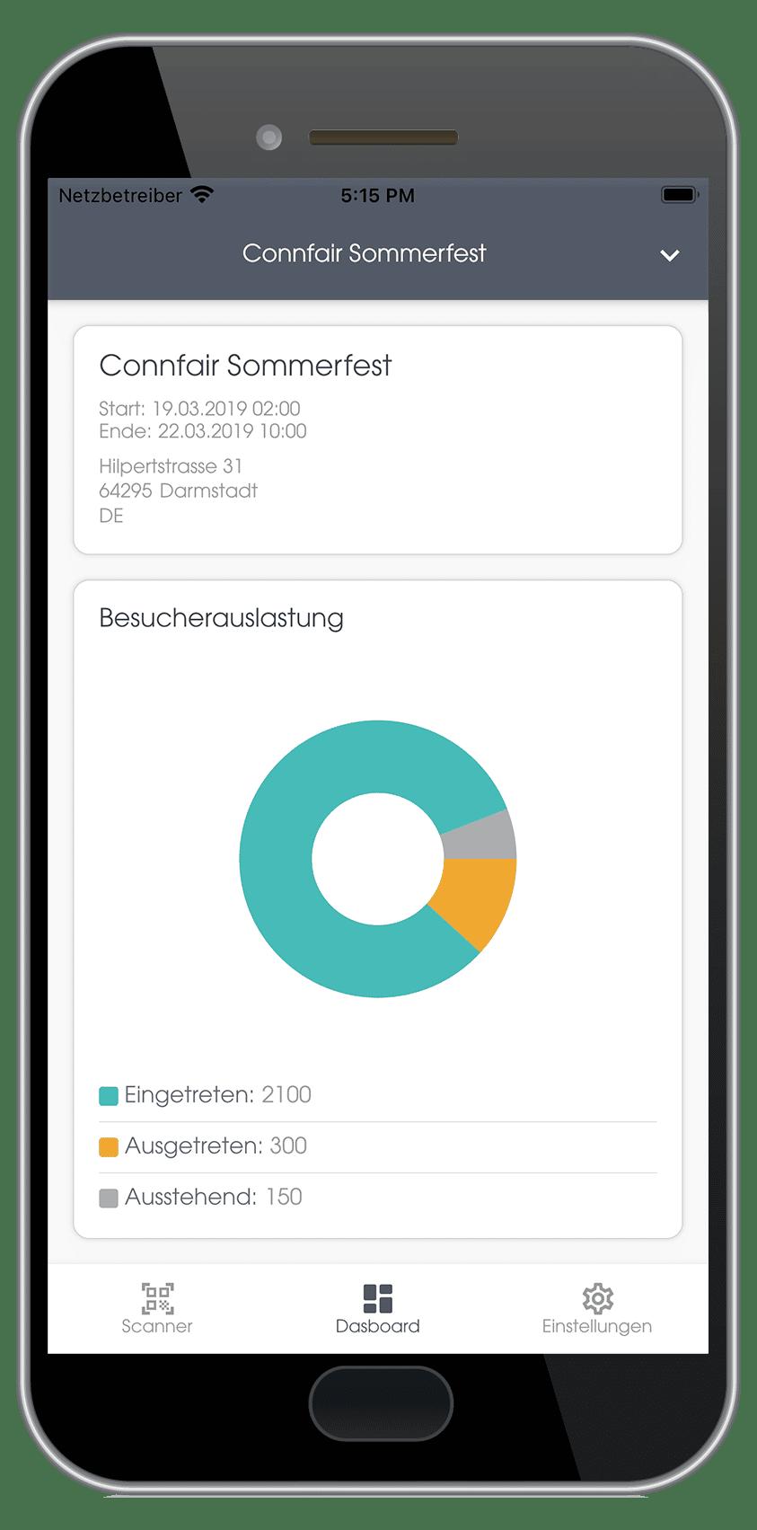 Der Bildschirm eines Smartphones zeigt die Live-Auslastung einer Veranstaltung in der neuen Connfair Admin App.