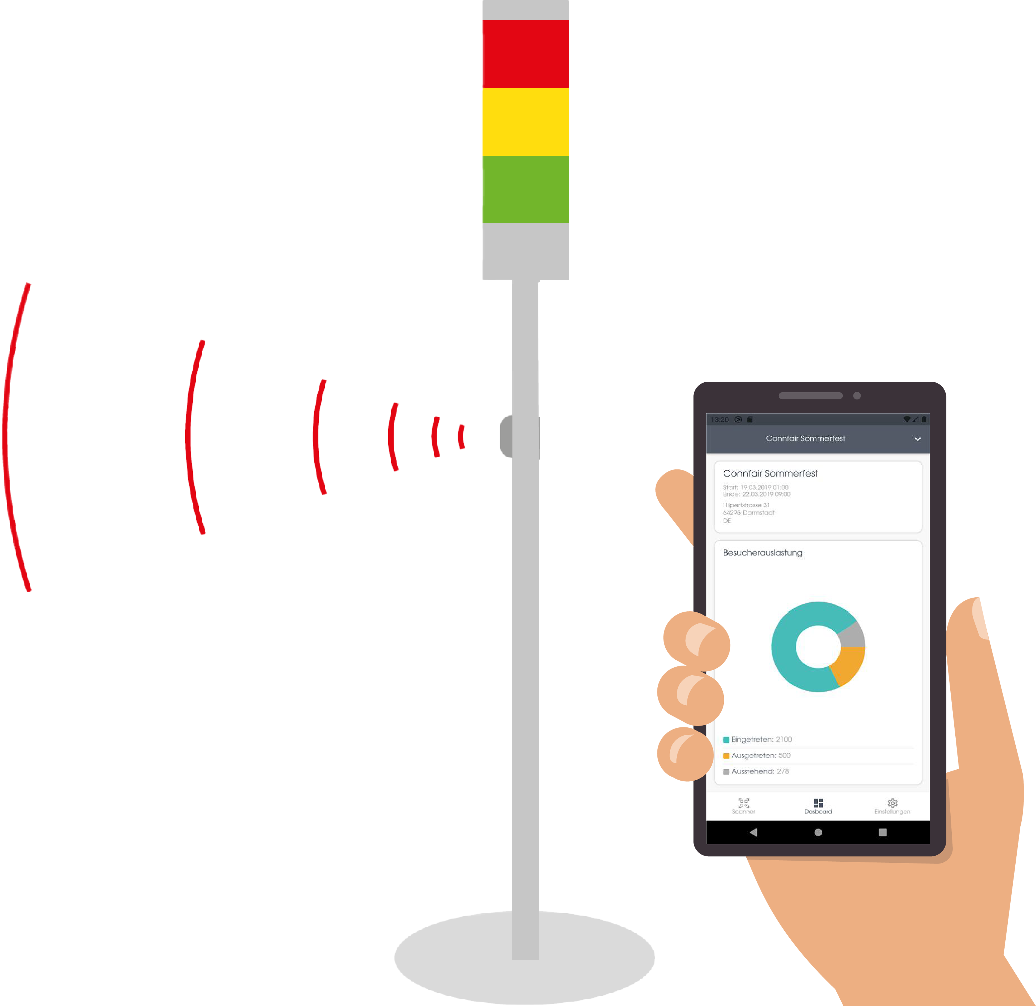 Eine Ampel steuert die Auslastung. Eine Hand hält ein Smartphone, auf dem die Connfair admin App zur Besucherregistrierung und Einlasskontrolle zu sehen ist.