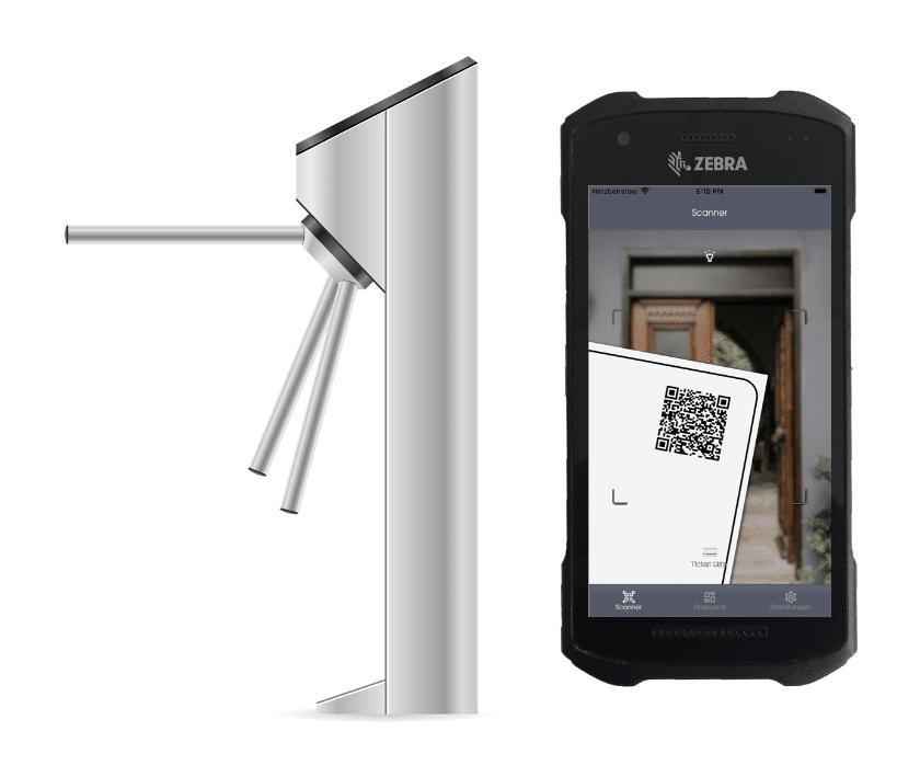 """Das freigestellte Drehkreuz von Connfair und der Hochleistungsscanner """"Zebra"""" ergeben zusammen mit der Admin App zum Scannen von Eintrittskarten das Einlasskontrollsystem des Event-Tech-Startups Connfair."""