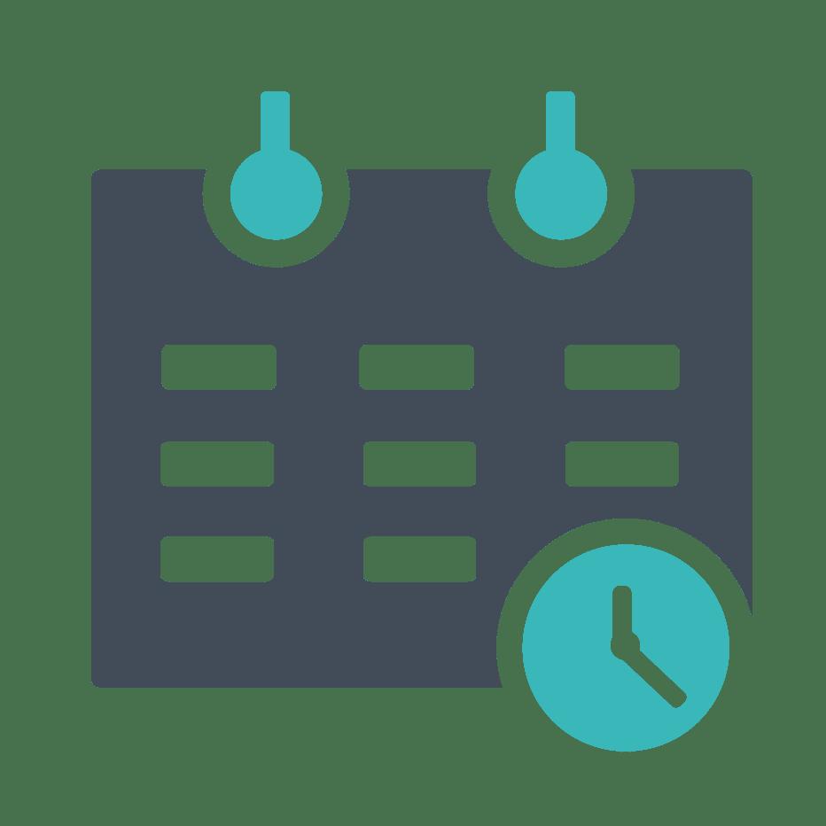 Ein Symbol zeigt einen Kalender mit einer grünen Uhr.