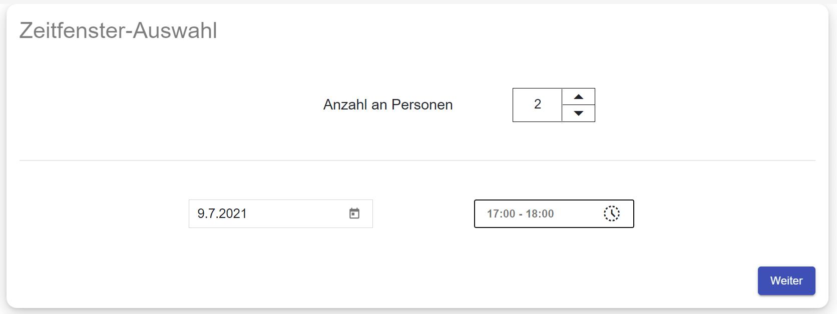 Screenshot eines Zeitfenster-Auswahlfeldes für eine Veranstaltung