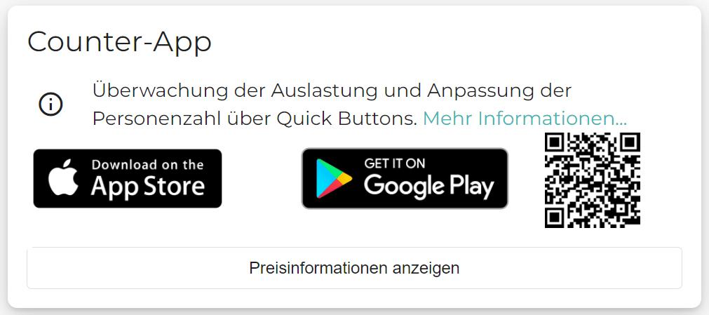 """Ein Screenshot zeigt Logos vom Google Play Store und vom App Store, wo die Zähl App """"Counter App"""" von Connfair heruntergeladen werden kann."""