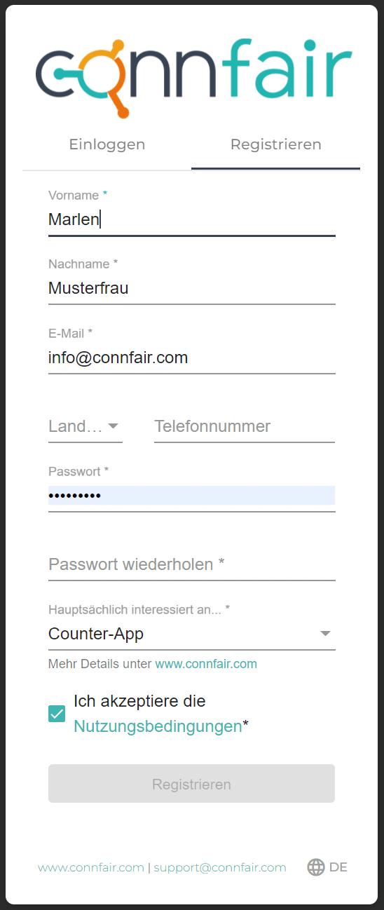 Ein Screenshot zeigt die Registrierung für die Zähl-App zur Auslastungssteuerung von Connfair