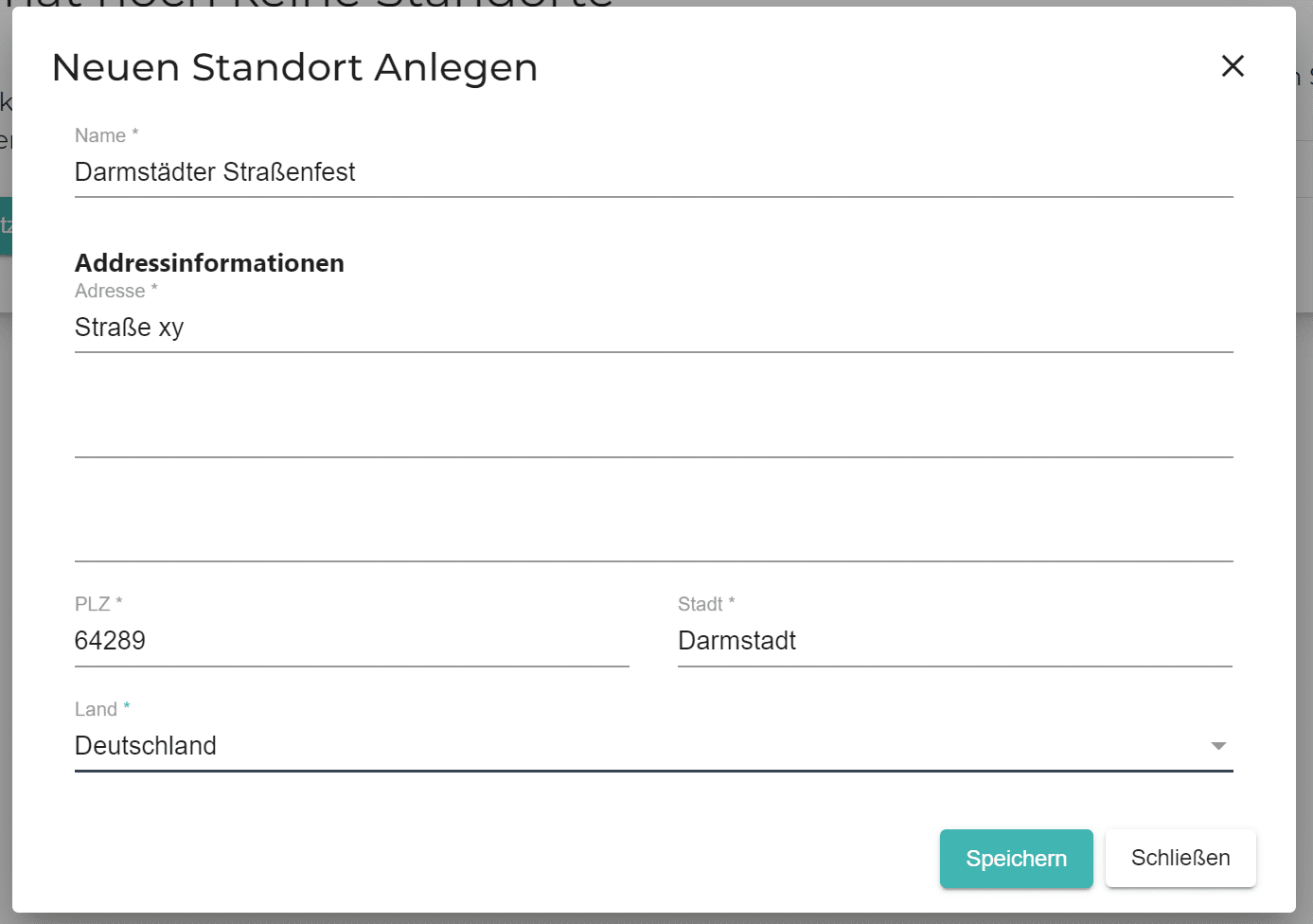 Ein Screenshot zeigt, welche Daten man angeben muss, um die Zähl App von Connfair zu nutzen: die Adresse und den Namen des Events