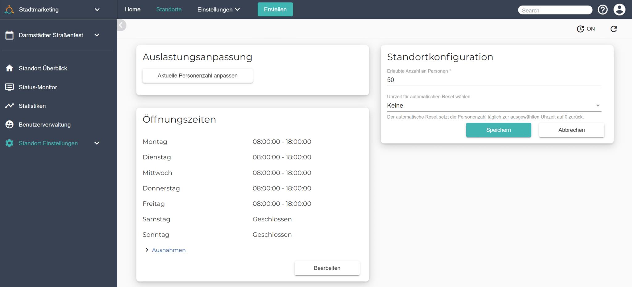 Ein Screenshot zeigt, wie Sie die maximale Auslastung Ihrer Veranstaltung konfigurieren, um die Zähl App von Connfair zu nutzen.