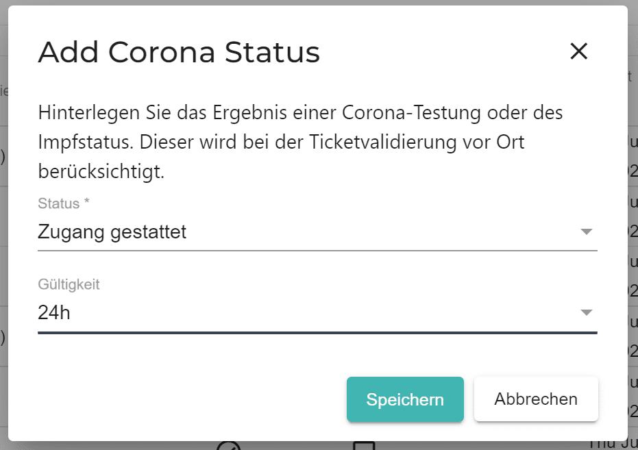 Ein Screenshot zeigt die Ticket-Freischaltung bei der Corona-Zertifikatskontrolle am Einlass