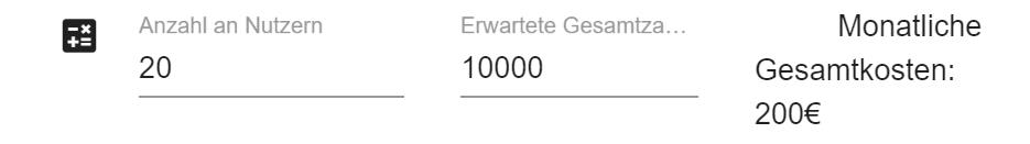 Ein Screenshot zeigt den Kostenrechner der Zähl App von Connfair, mit dem man berechnen kann, wie viel es kostet, die Besucher einer Veranstaltung zu zählen.